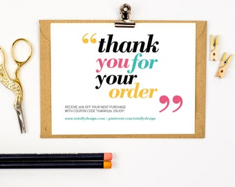 Printable Thank You Cards INSTANT DOWNLOAD - Happily Quoted