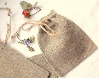 50 Natural Burlap Pouches Cute Linen Small Bags