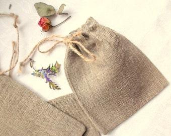 40 Natural Burlap Pouches Cute Linen Small Bags