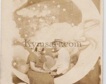 Original RPPC Vintage Photo Loving Couple on the Paper Moon