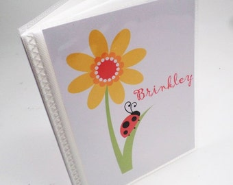 Girl Photo Book girl photo album Personalized Photo Album grandma brag book baby shower gift Red Lady Bug Flower 4x6 or 5x7 picture book 127