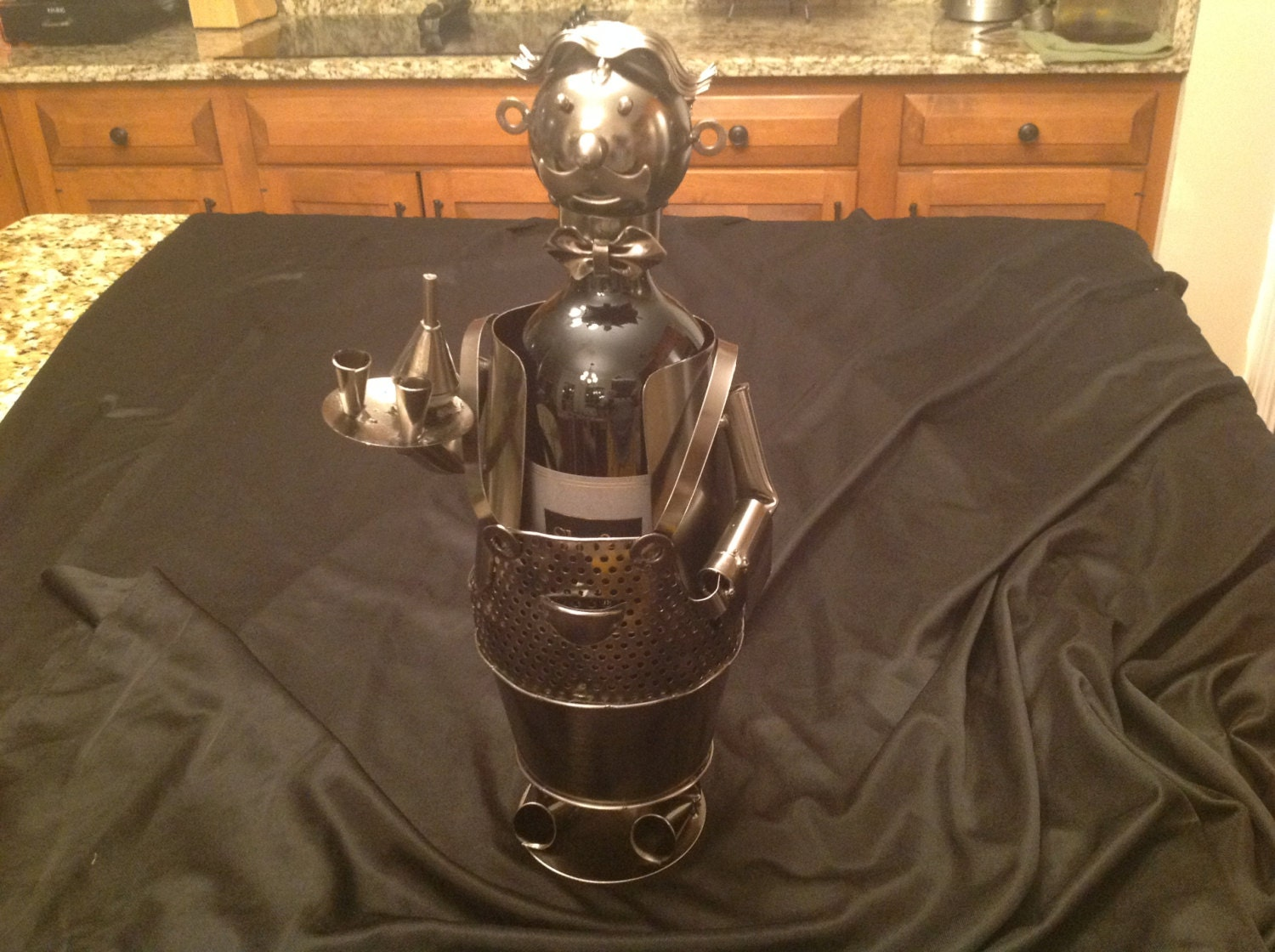 Waiter Wine Bottle Holders Handcrafted And Welded Metal