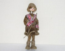 Vintage Flax Fiber Collectible Doll, Handmade Natural Linen Flax Folk Art Souvenir Doll, Shepherd @81