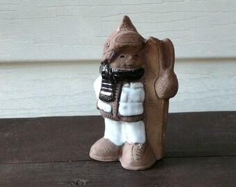 JIE Gantofta Vintage Swedish Collectible Figurine Boy Skis, White Brown, Scandinavian @79