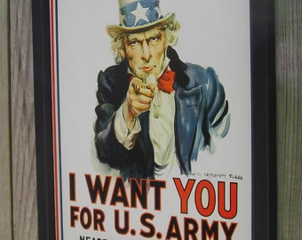 Reproduction Tin Sign, U.S. ARMY, Uncle Sam, Wood Frame, Nostalgic, 17 1/4 by 13 1/2 inches., Free Shipping