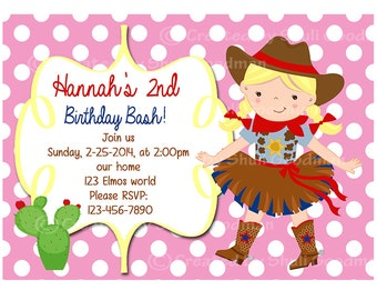 Cowgirl birthday  Invitations - printable - DIY - digital file (CG4)