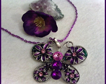Purple Butterfly Pendant Necklace
