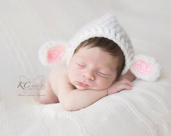 Handmade Lamb Bonnet // Baby Boy Girl Crochet Photo Prop // Easter Shower Gift