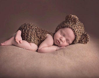 Handmade Baby Bear Overalls Set / Newborn Infant Crochet Photo Prop / Perfect Baby Shower Gift / Teddy Bear Outfit