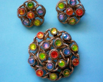 Sarah Coventry Moon Lites Brooch & Clip Earrings - 3700