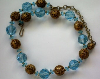 Blue Glass and Gold Filigree Ball Necklace - 3782