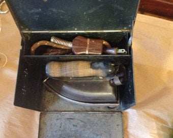 Vintage sunbeam Electric iron and storage hotbox works great