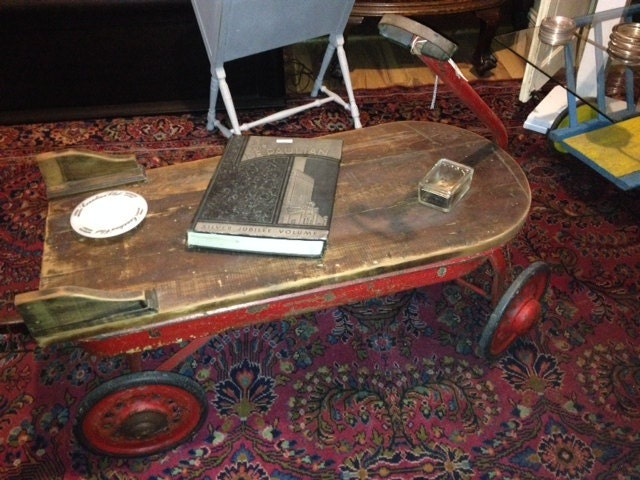 Little Red Wagon Coffee Table W/Barnwood Top (Approx 1940u0027s)