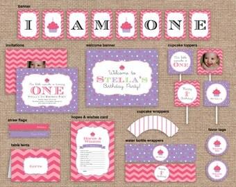 Girl First Birthday Cupcake Package, Purple, Chevron & Polka Dot, CUSTOM, DIY Printable