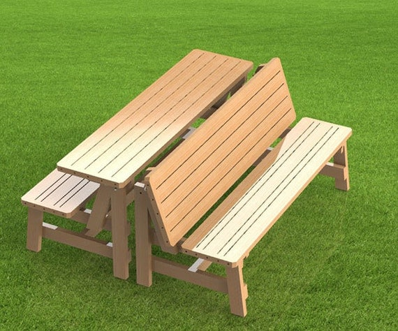 Convertible 6ft Bench to Picnic Table Combination Building Plans