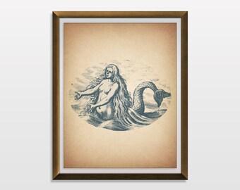 PRINTABLE ART, Mermaid Art, Mermaid Print, Mermaid Illustration, Nautical Decor, Nautical Art, Vintage Illustration, Coastal Wall Art