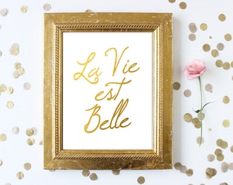La Vie Est Belle, Faux Gold Foil, Faux Gold Leaf Art, Inspirational Quote, Typographic Print, French Quote Print, French Saying, Framed Art