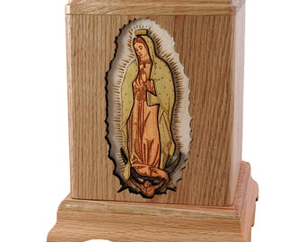 Oak Our Lady of Guadalupe Wood Cremation Urn