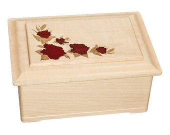 Maple Roses Top Wood Cremation Urn