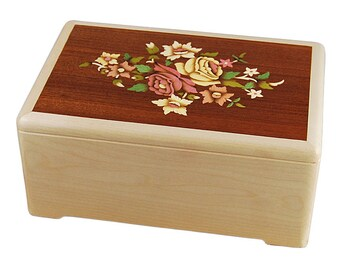Maple Floral Marquetry Wood Cremation Urn
