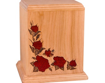 Cherry Roses Wood Cremation Urn