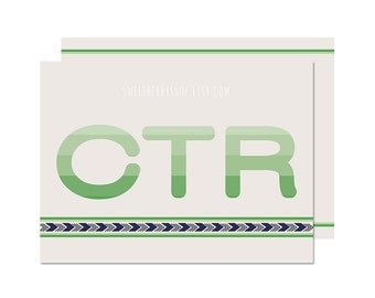 Green CTR | Missionary Note Card/ Journal Card