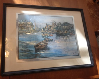 Lionel Berrymore / Gold and Silver Foil Etching / San Pedro / Matted and Framed