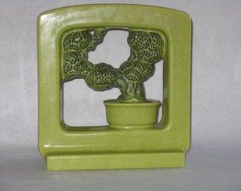 Mid century modern green vintage ceramic bonsai figurine lamp base