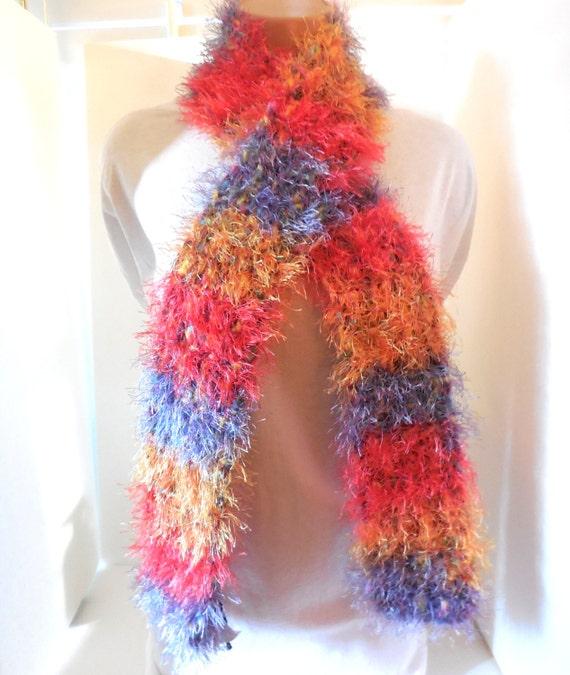 Fun Fur Scarf Red Gold Lavender Crochet Neckscarf Rainbow