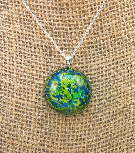 Resin pendant - handpainted green, yellow and blue 3D vines/flower  - Multi-layer acrylic painting