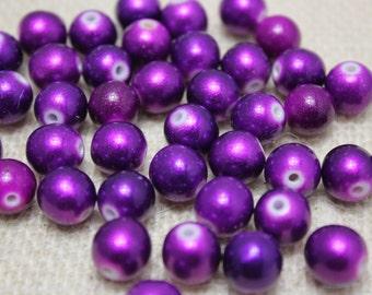 Special! Vintage 10mm Metallic Purple Beads (30 Pieces)