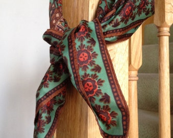 Brown Green and Orange Floral Japanese Scarf