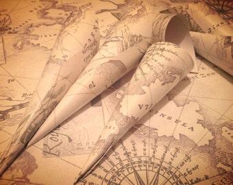 10 Wedding Confetti Cones Favour Cream Ivory Wedding Vintage Old World Map Navigator