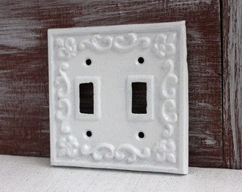Double Light Switch Cover, White Lightswitch Plate, Switch Plate Cover, Cast Iron, Switchplate Cover White Home Decor, Shabby Cottage Chic