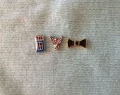 Doctor Who floating necklace locket charms weeping angel bow tie dr.