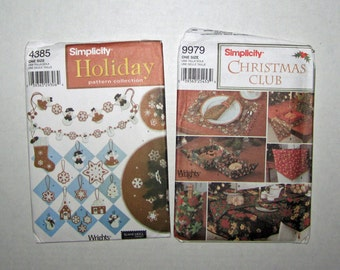 2) Christmas Simplicity 4385 Ornaments Simplicity 9979 Table Runner Napkins Uncut
