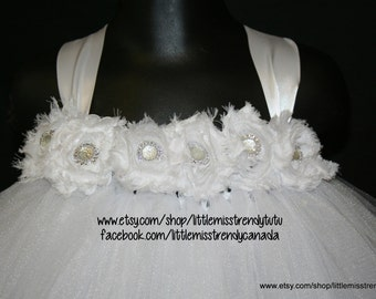 White Flower Girl Tutu Dress, White Tutu Dress, Flower Girl Tutu Dress, Baptism Dress, Christening Tutu Dress, White Birthday Tutu Dress