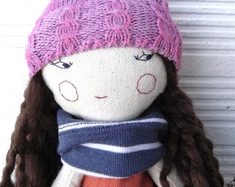Emma rag doll with long curly hair