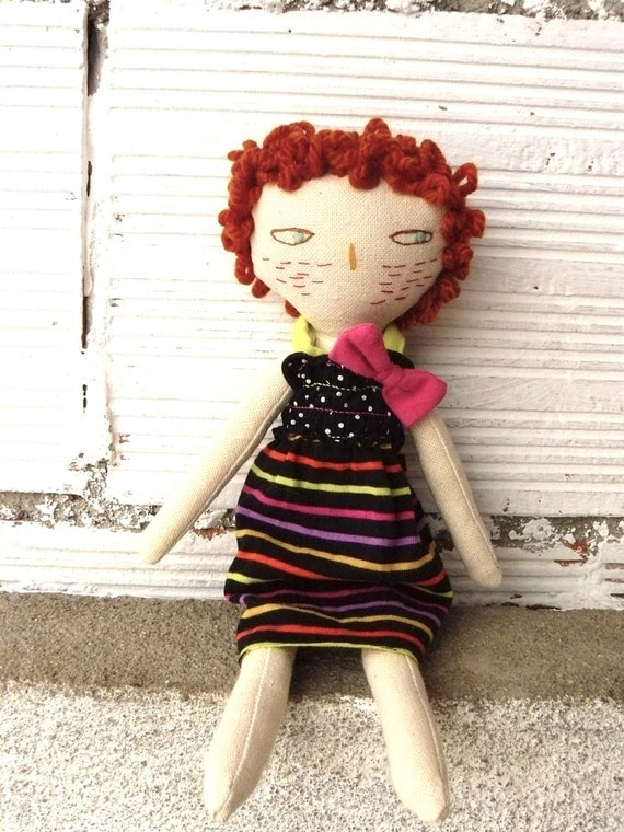 Ruth rag doll with orange wool hair