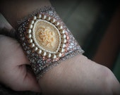 Unique and original handmade beaded  and embroidered bracelet Victorian