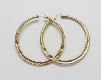 Extra Large Brass Hoops with Studs