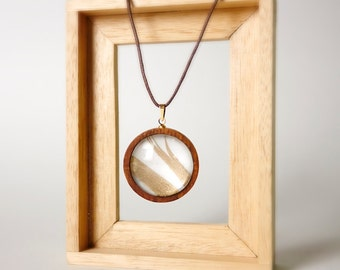 Handmade wood frame with glass necklace with string, ready to ship
