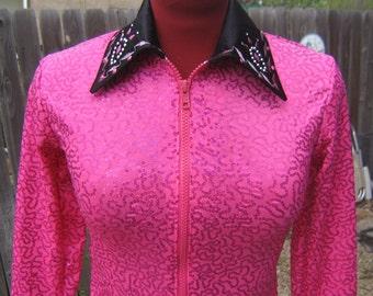 Girls L or M SPARKLE  Pink sequence western horsemanship showmanshipHorse show clothes,  show shirt, pleasure, rail, trial, leadline  L or M