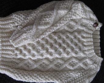 Deluxe Aran 100% Wool Toddler Irish Sweater Design D