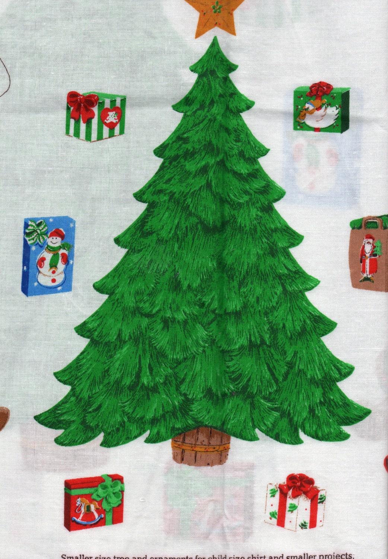 christmas applique panel christmas trees wearable art teddy