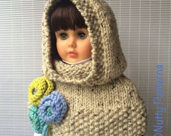 Knitting Pattern * Vermont Hood with Capelet * Instant Download Pattern #475 * baby toddler child teen adult * bulky * fast and easy