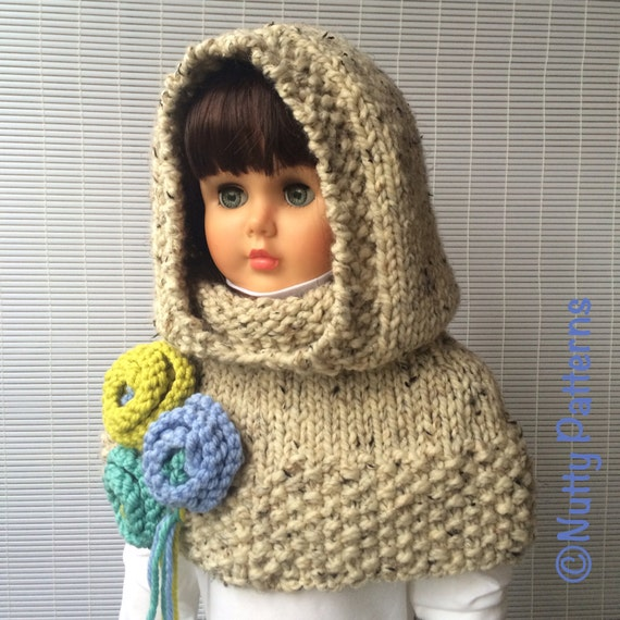 Knitting Pattern For Baby Capelet : Knitting Pattern Vermont Hood with Capelet Instant