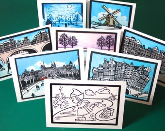 Dutch greeting cards: Pick any 10. Snowy winter scenes, Amsterdam, windmill, Rijksmuseum, skating, canal houses, colouring in for kids.