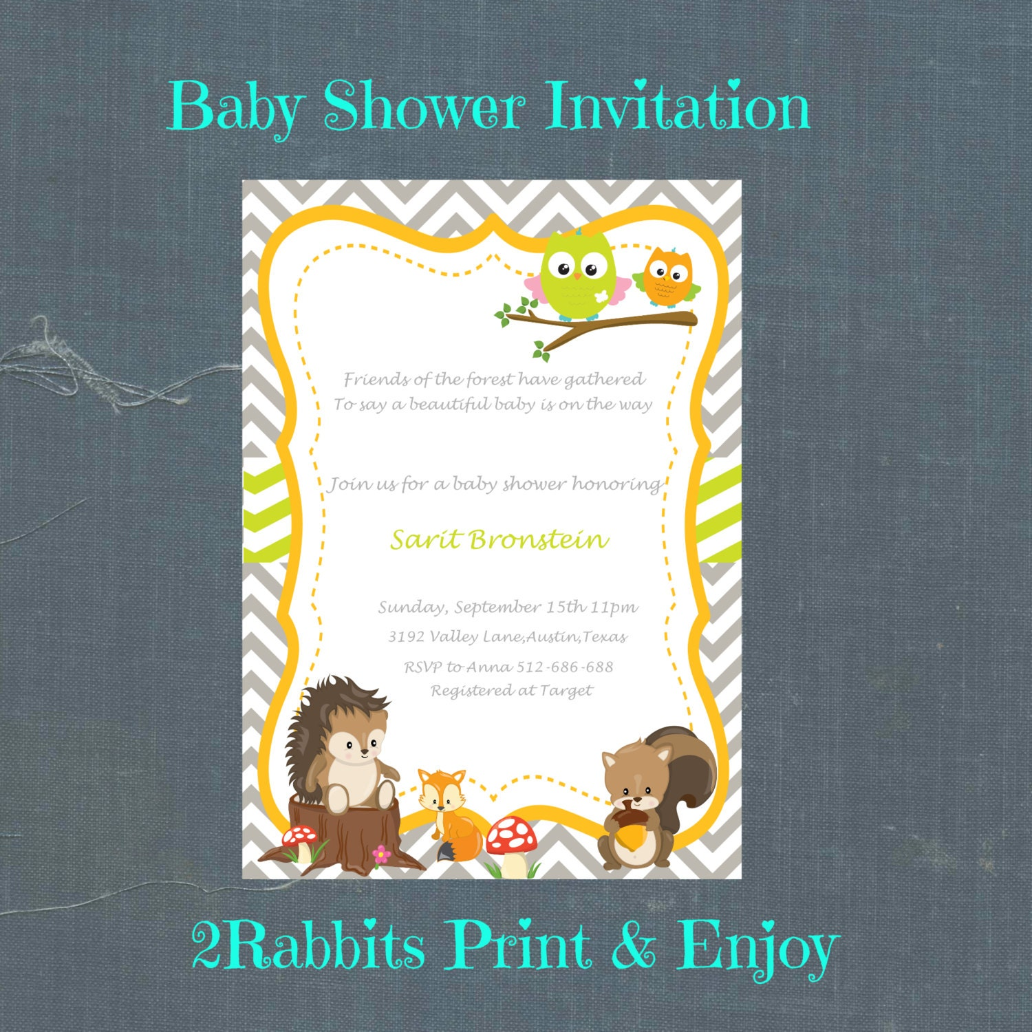 woodland baby shower invitation printable spanish