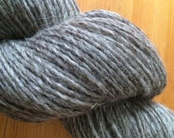 icelandic yarn, 2 ply worsted, moorit/grey